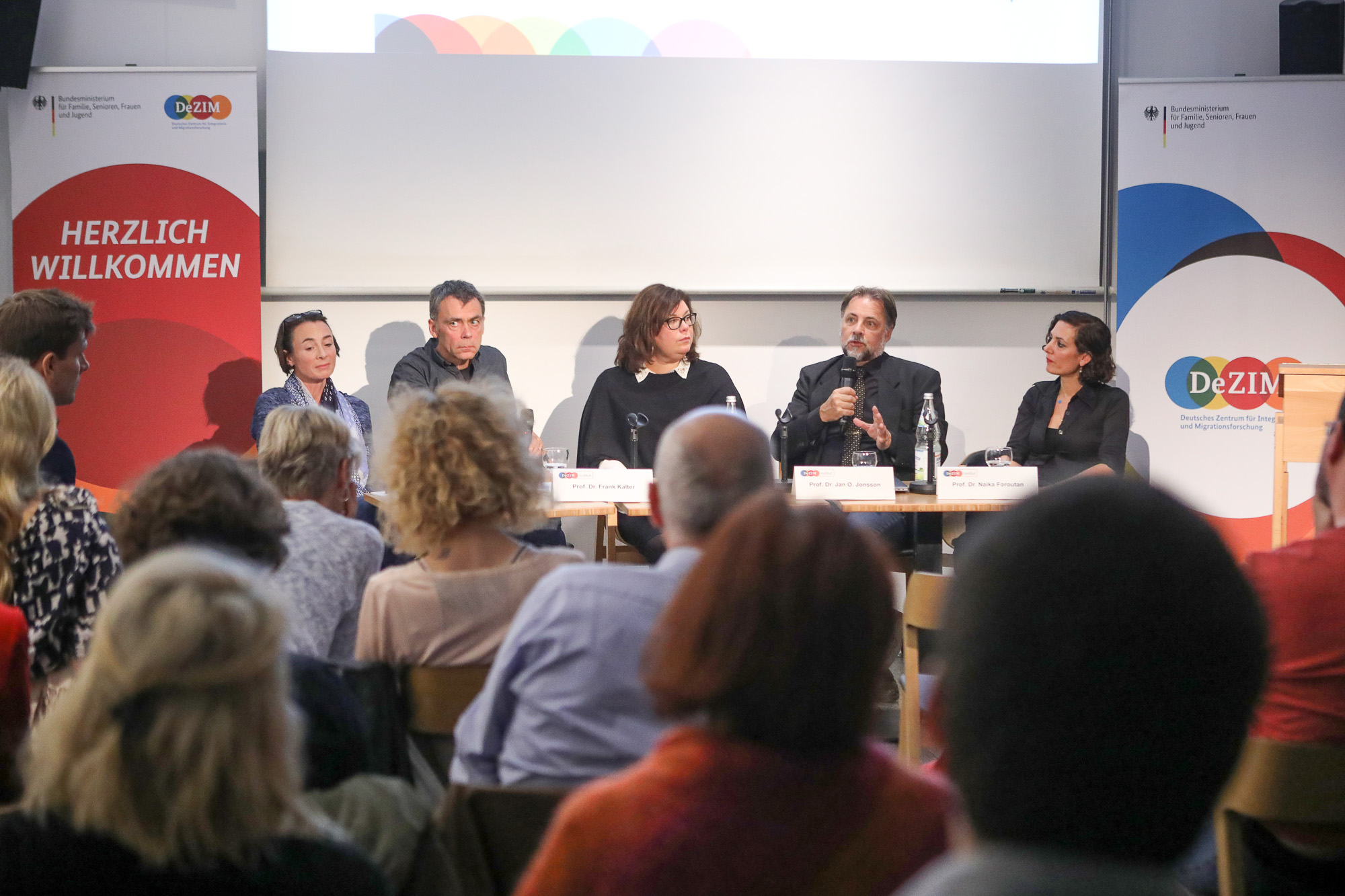 The panel at the launch of Growing Up in Diverse Societies at De-ZIM. Photograph by Konstantin Fastmann / De-ZIM.