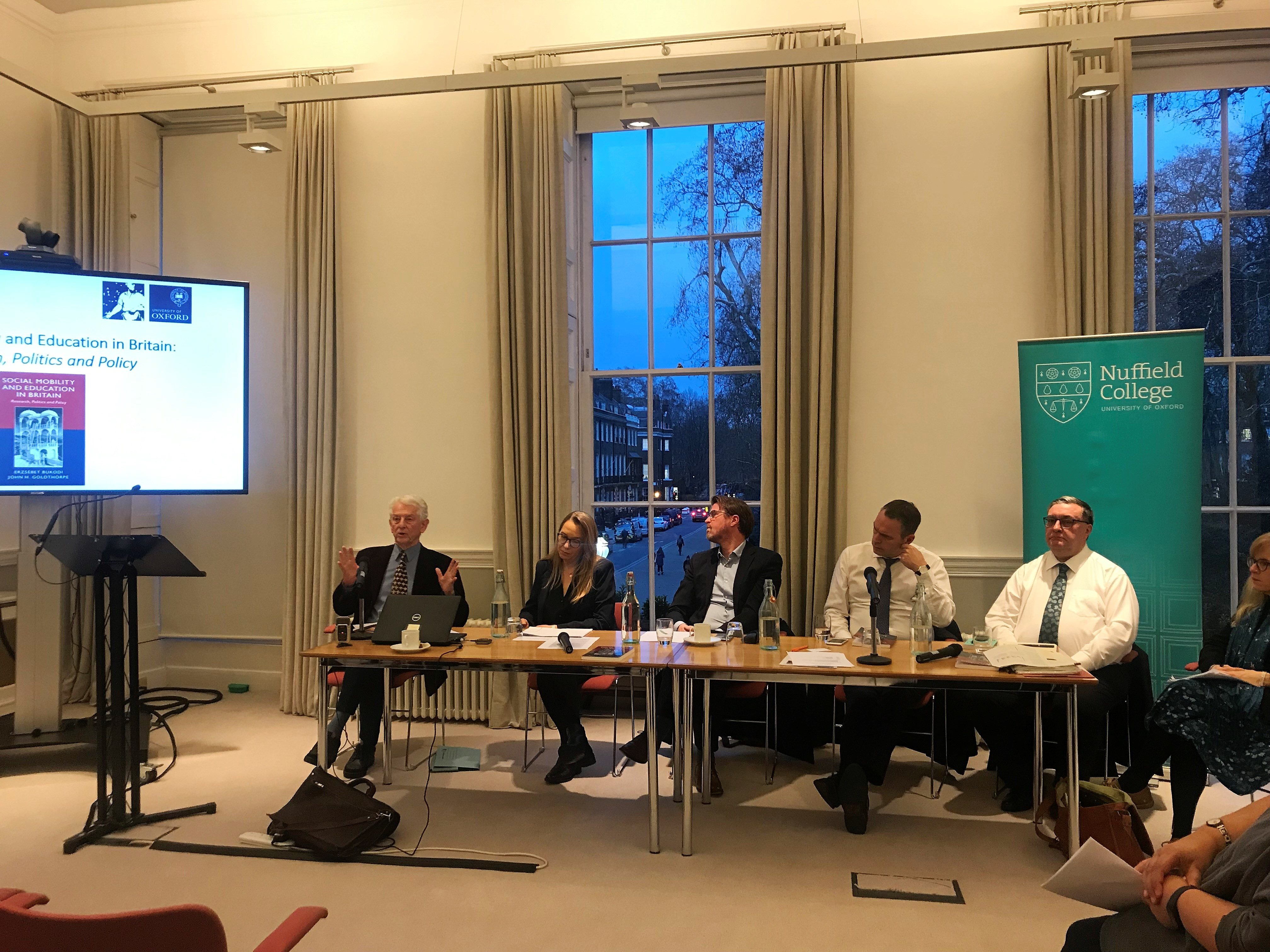 The panel at the Social Mobility and Education in Britain seminar at the Nuffield Foundation